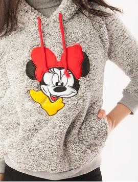 Hanorac Dama Pufos Cu Imprimeu Minnie Mouse Gri