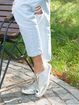 Adidasi Dama Stralucitori Cu Varful Metalic Argintiu