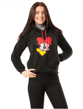 Hanorac Dama Pufos Cu Imprimeu Minnie Mouse Negru