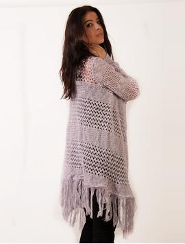 Cardigan Dama Cu Model Tricotat Si Franjuri Lila Si Alb