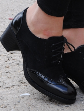 Pantofi Dama Stil Oxford Cu Siret Negri