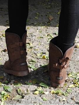 Cizme Dama In Stil UGG Cu Fundite Maro