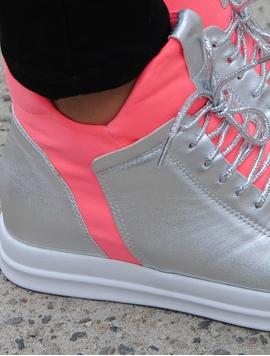 Adidasi Dama Stil Gheata Metalici Argintii