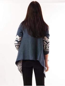 Cardigan Dama Cu Forme Geometrice Albastru Si Alb
