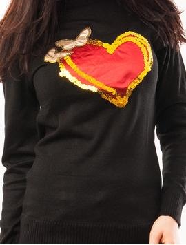 Pulover Dama Cu Inima Si Fluturi Negru