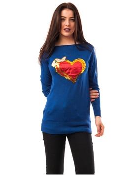 Pulover Dama Cu Inima Si Fluturi Albastru