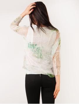 Bluza Dama Cu Imprimeu Si Plasa Verde Si Mov