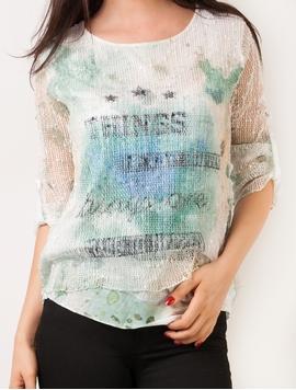 Bluza Dama Cu Imprimeu Si Plasa Verde Si Albastru
