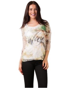 Bluza Dama Cu Imprimeu Si Plasa Verde
