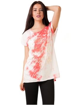 Bluza Dama Cu Imprimeu Metalic Si Paiete Corai