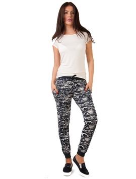 Pantaloni Dama Trening Cu Imprimeu Bleumarin Si Alb