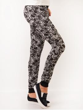 Pantaloni Dama Trening Cu Imprimeu Negru Si Alb