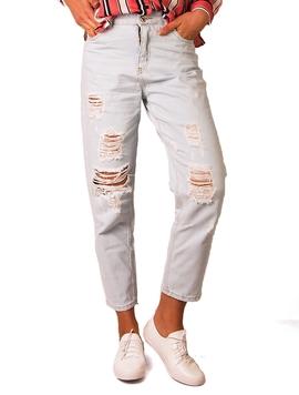 Jeans Boyfriend Rupti Dama Albastru Deschis