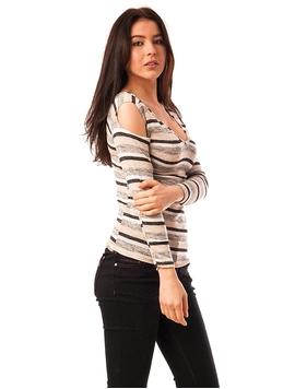 Bluza Dama In Dungi Cu Umerii Goi Bej Si Gri