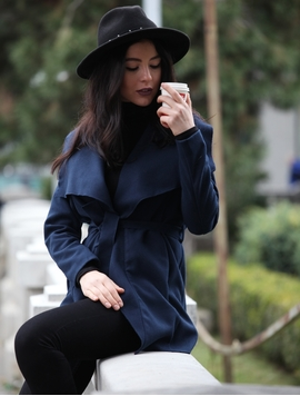 Jacheta Dama Cu Cordon In Talie Bleumarin