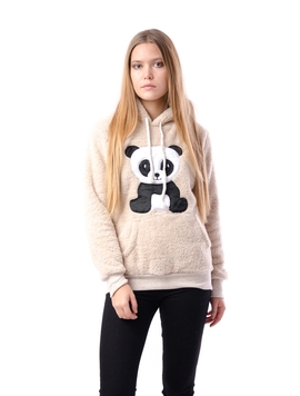 Hanorac Dama Pufos Cu Imprimeu Panda Bej
