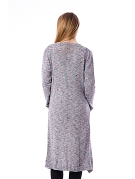 Cardigan Dama Lung Cu Model Inspicat Si Buzunare Albastru Si Roz