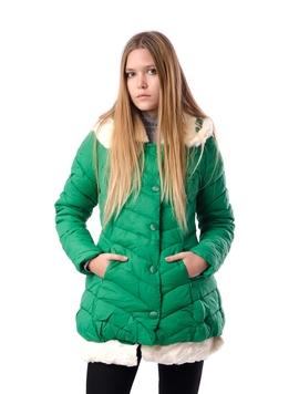Geaca Dama Cu Gluga Si Blanita La Baza Verde