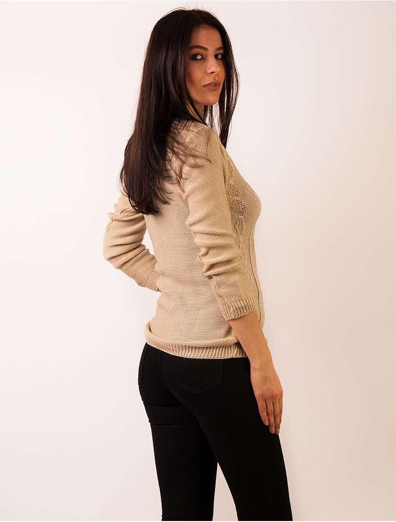Pulover Dama Cu Model In Fata Bej