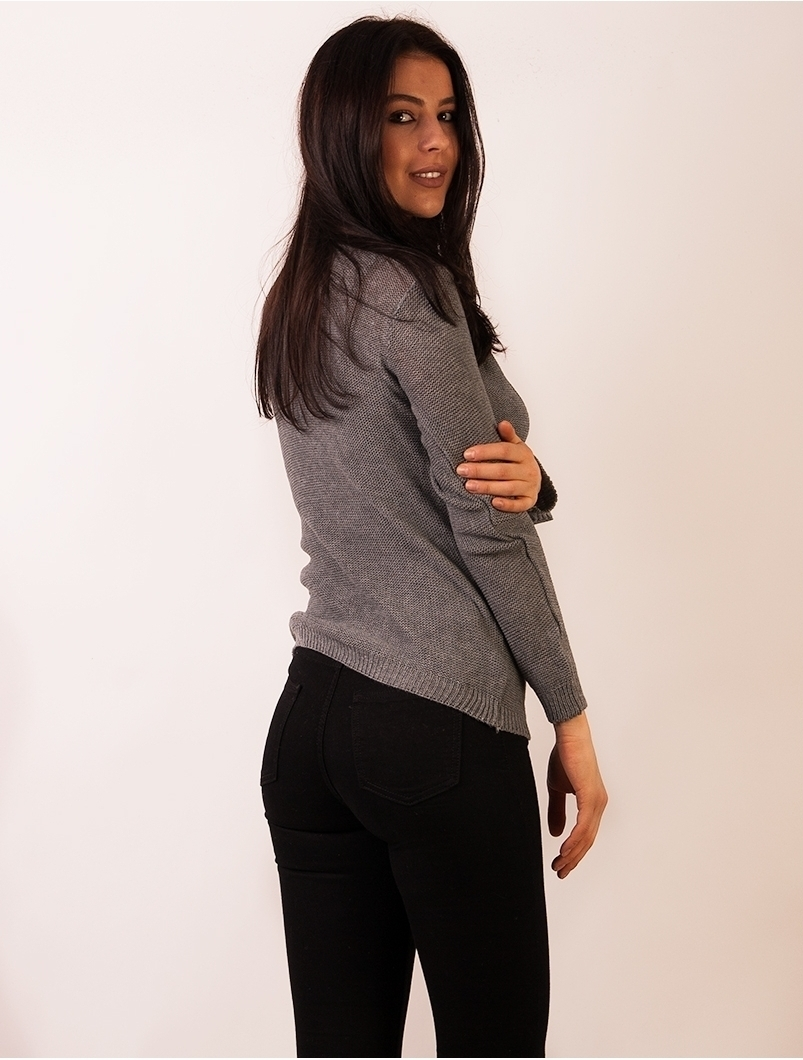 Pulover Dama Cu Model Cu Romburi Gri