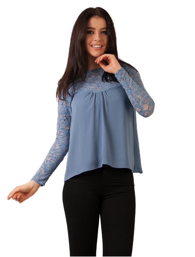 Bluza Dama Din Voal Si Dantela Bleu