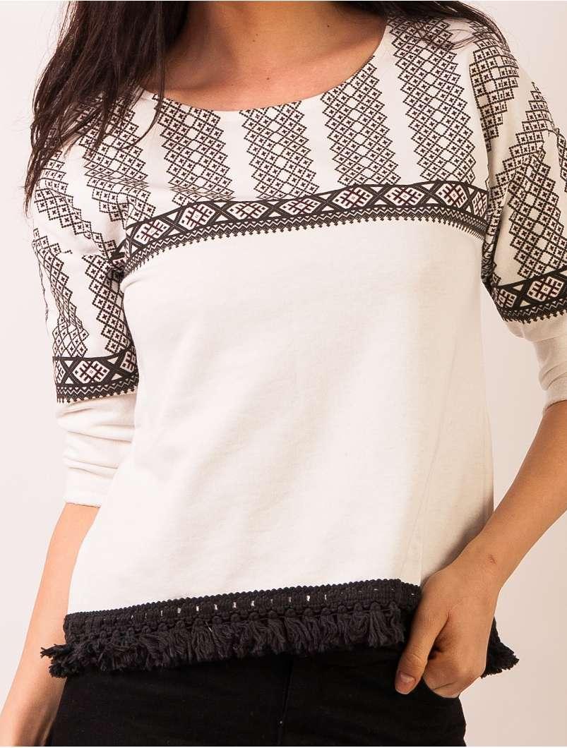 Bluza Dama Cu Model Traditional Si Franjuri Alb Si Negru