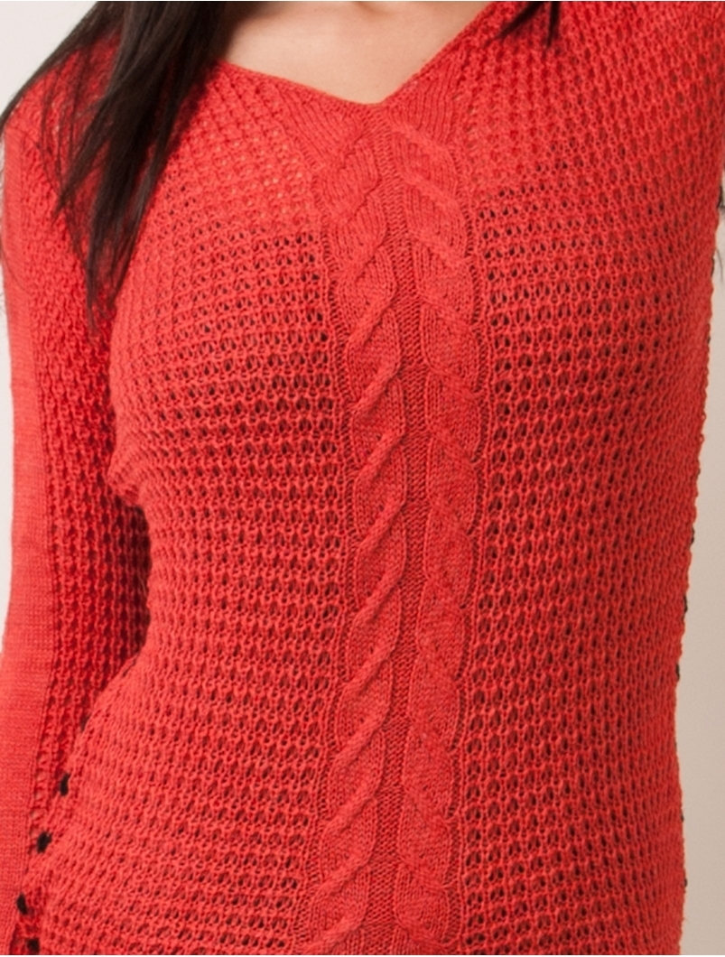 Pulover Dama Cu Model Tricotat Si Dungi La Spate Corai