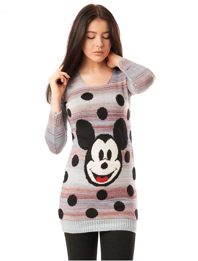 Pulover Dama Cu Model Mickey Mouse Bleu Si Roz