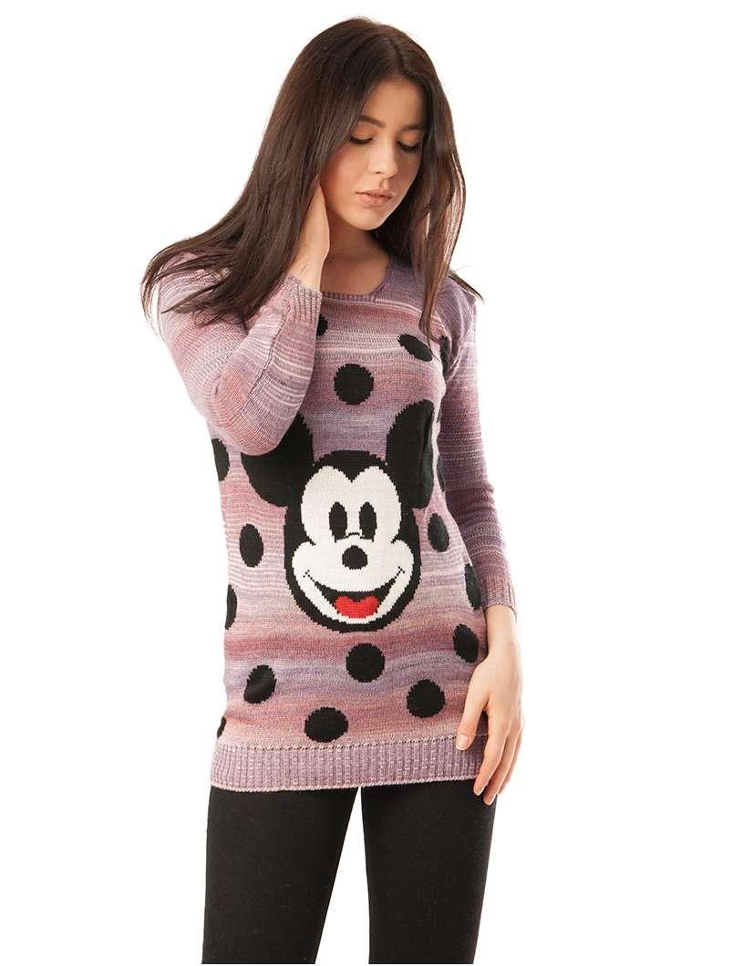 Pulover Dama Cu Model Mickey Mouse Mov Si Roz