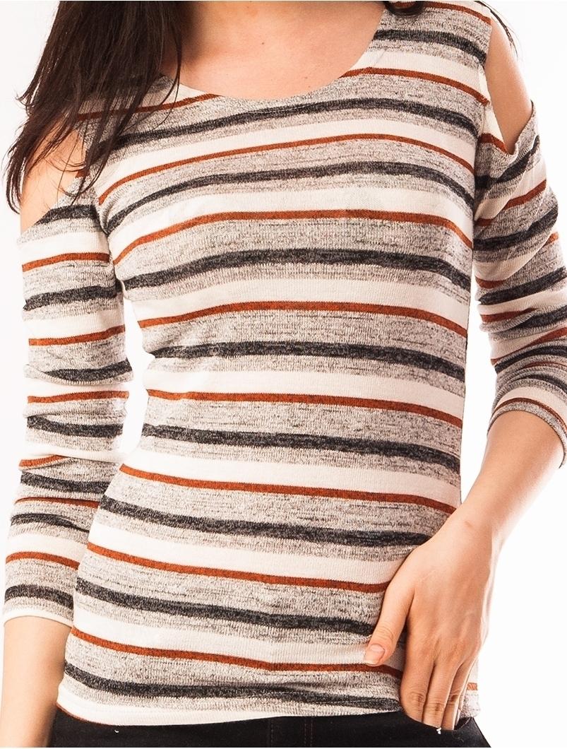 Bluza Dama In Dungi Cu Umerii Goi Caramiziu Si Gri