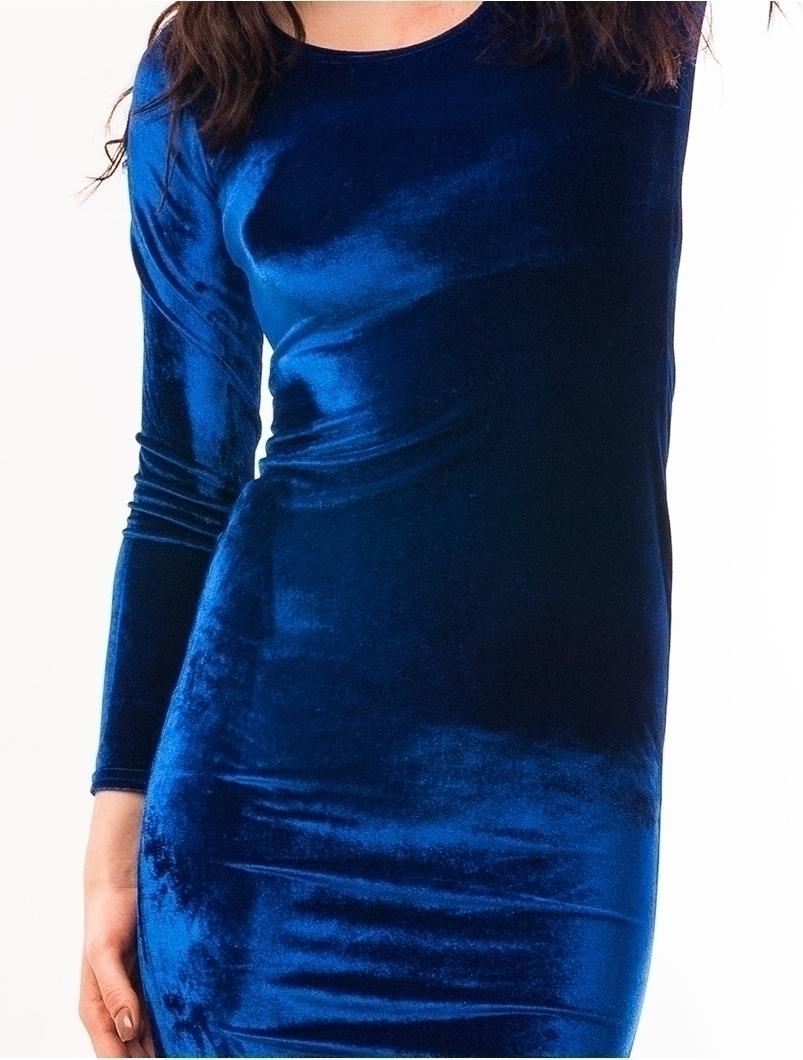 Rochie Mulata Din Catifea Albastra