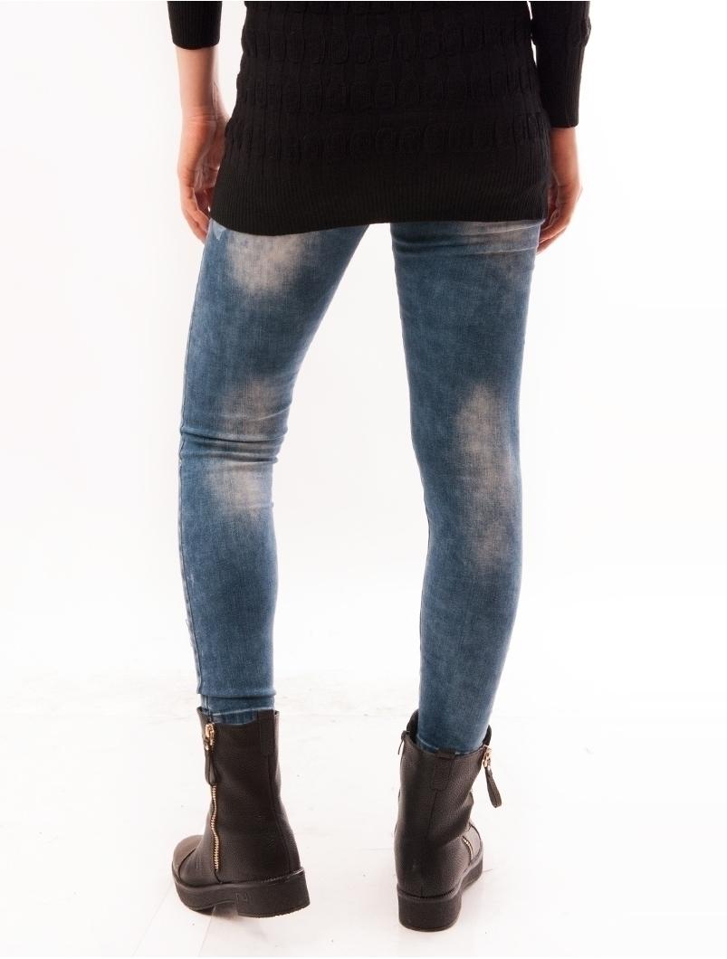 Jeans Dama Skinny Prespalati Albastri