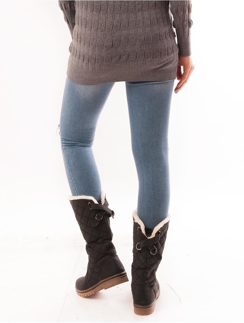 Jeans Dama Skinny Cu Rupturi Bleu