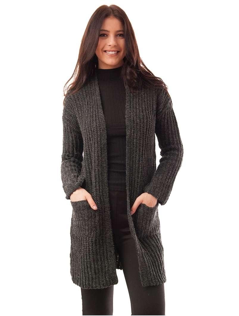 Cardigan Dama Tricotat Cu Buzunare Gri Inchis