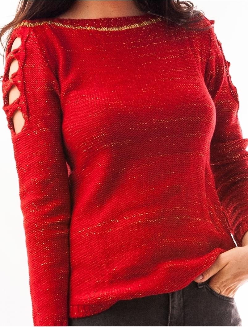 Pulover Dama Cu Fir Auriu Si Umeri Decupati Rosu