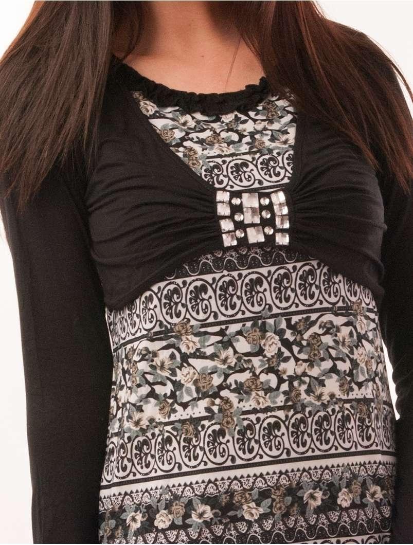 Bluza Dama Cu Model Floral Si Pietre Stralucitoare Grace Neagra
