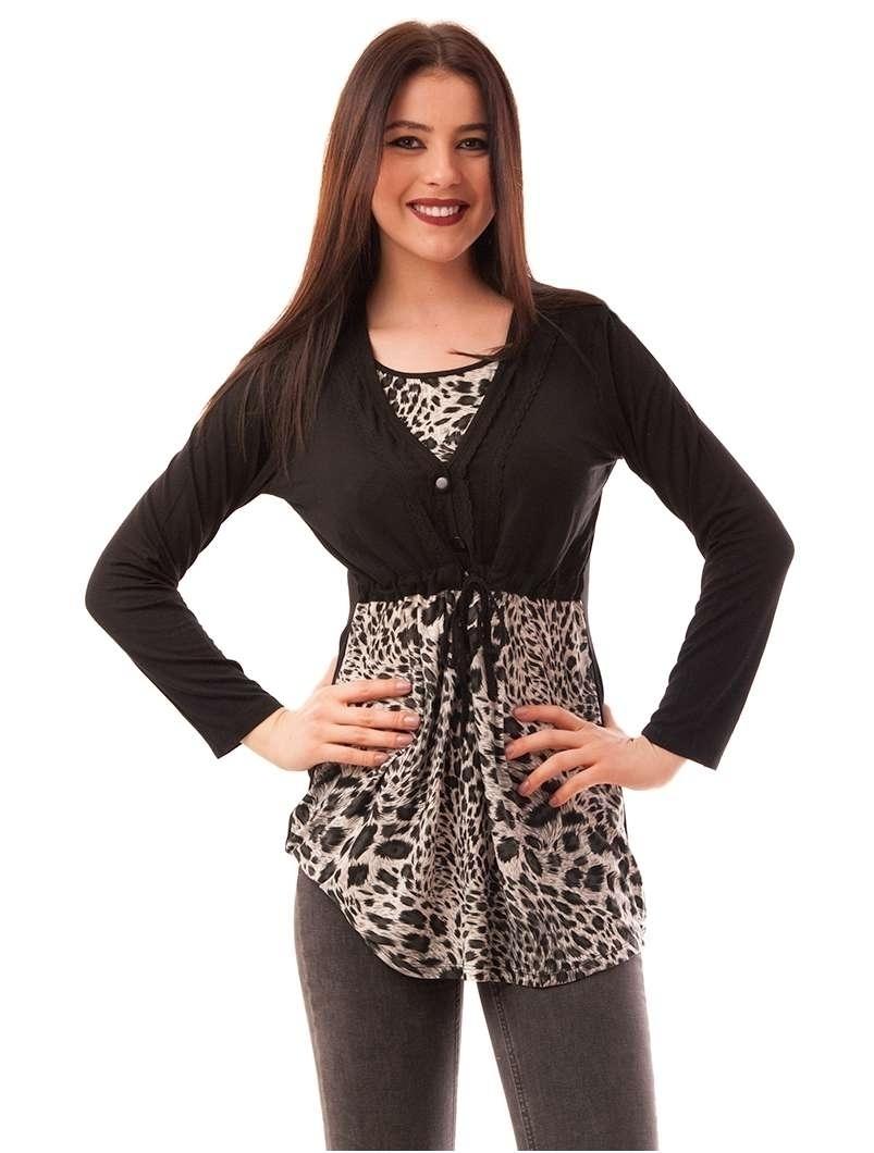 Bluza Dama Cu Model Animal Print Buttons Neagra