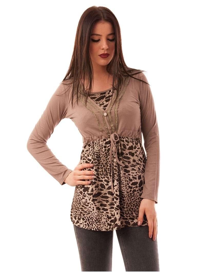 Bluza Dama Cu Model Animal Print Buttons Maro