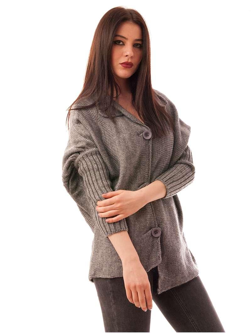 Cardigan Dama Cu Model Tricotat Pumpkin Gri Deschis