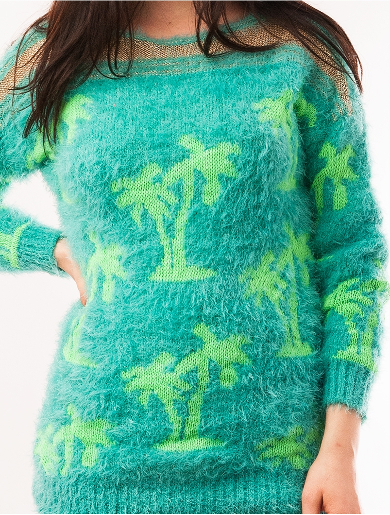 Pulover Dama Cu Model Cu Palmieri Palms Turcoaz