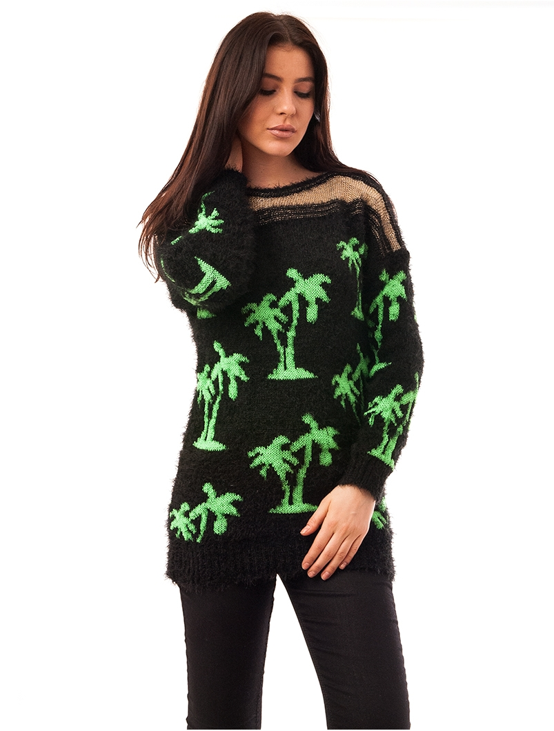 Pulover Dama Cu Model Cu Palmieri Palms Negru Si Verde
