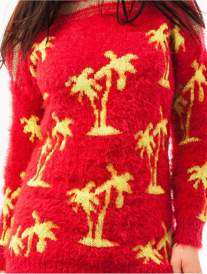 Pulover Dama Cu Model Cu Palmieri Palms Rosu