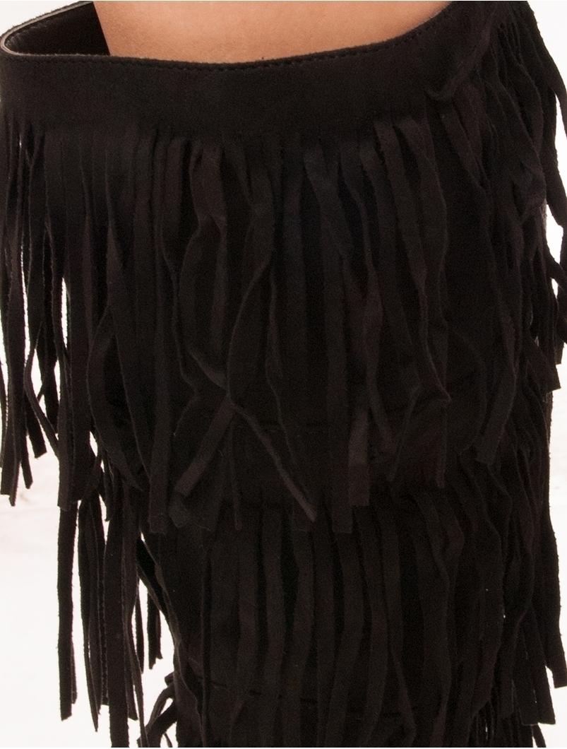 Cizme Dama Imblanite Cu Franjuri Fluffy Negre