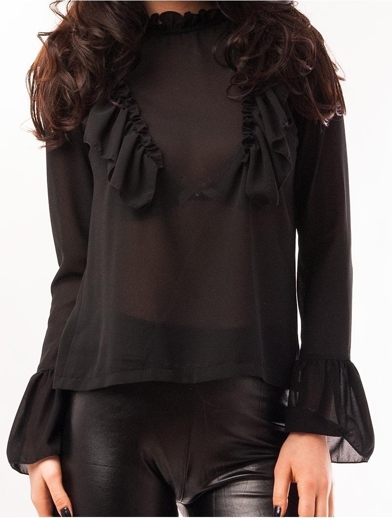 Bluza Dama Din Voal Cu Volanase Beautiful Neagra