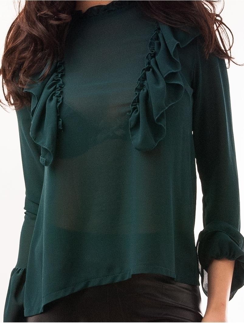 Bluza Dama Din Voal Cu Volanase Beautiful Verde