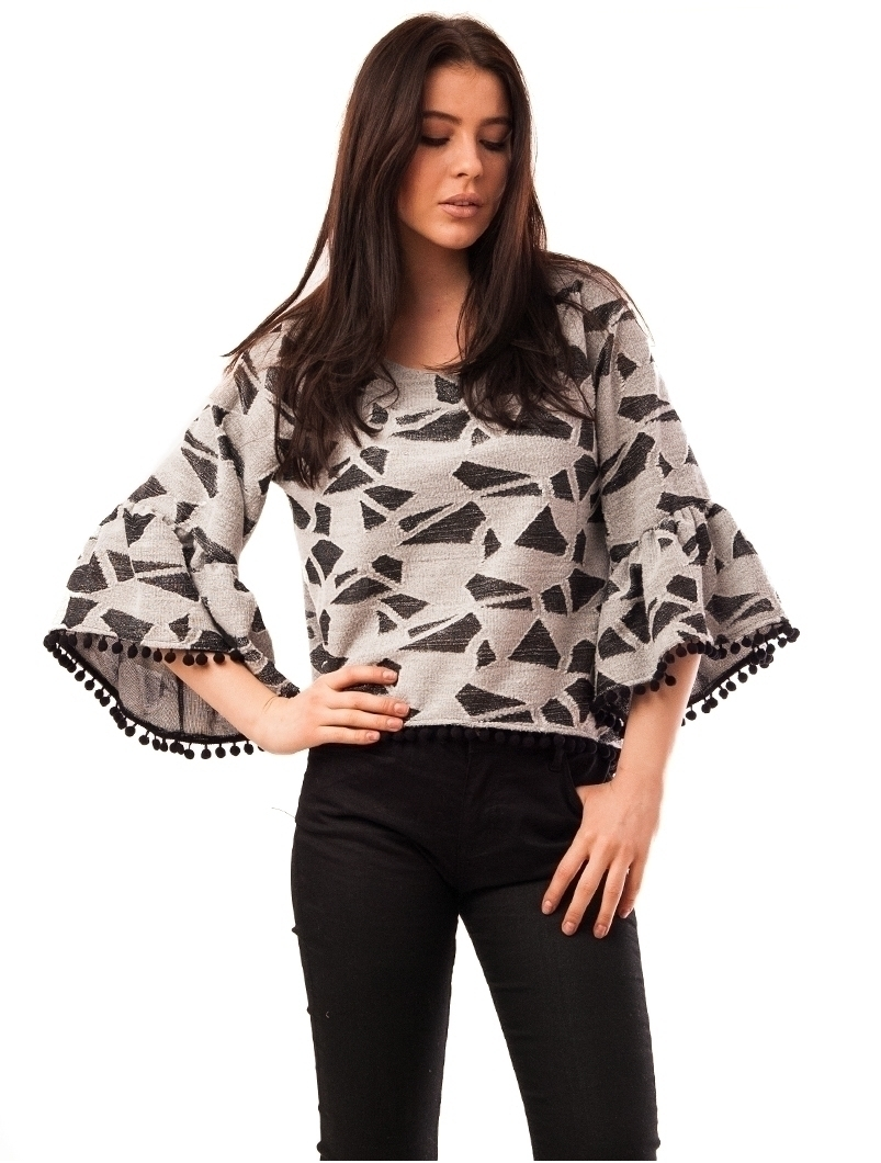 Bluza Dama Cu Ciucuri La Baza Wild Gri