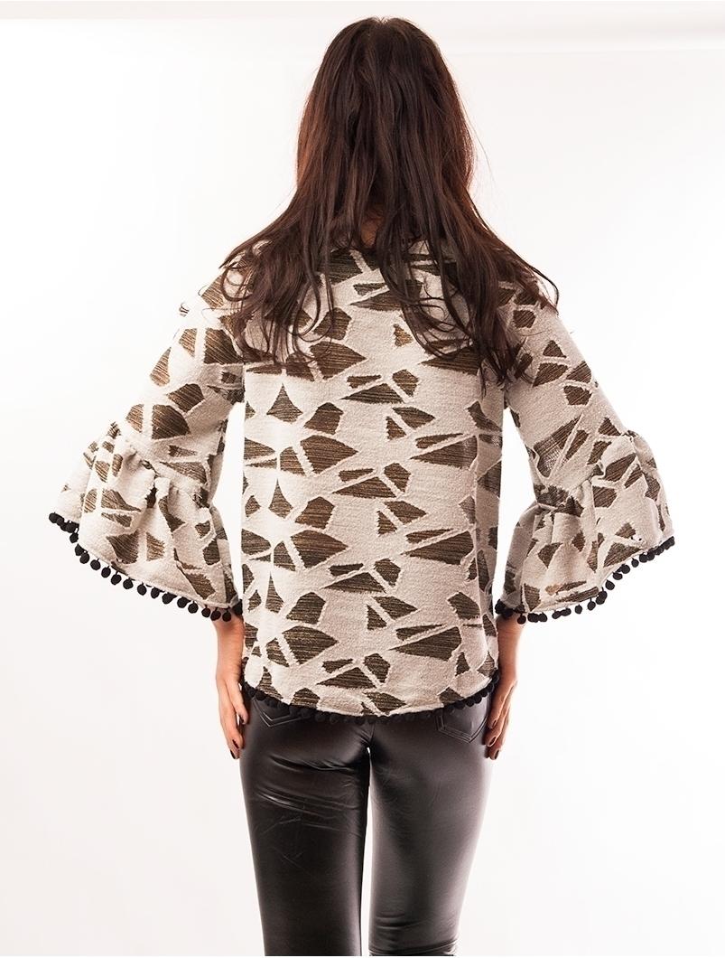 Bluza Dama Cu Ciucuri La Baza Wild Bej