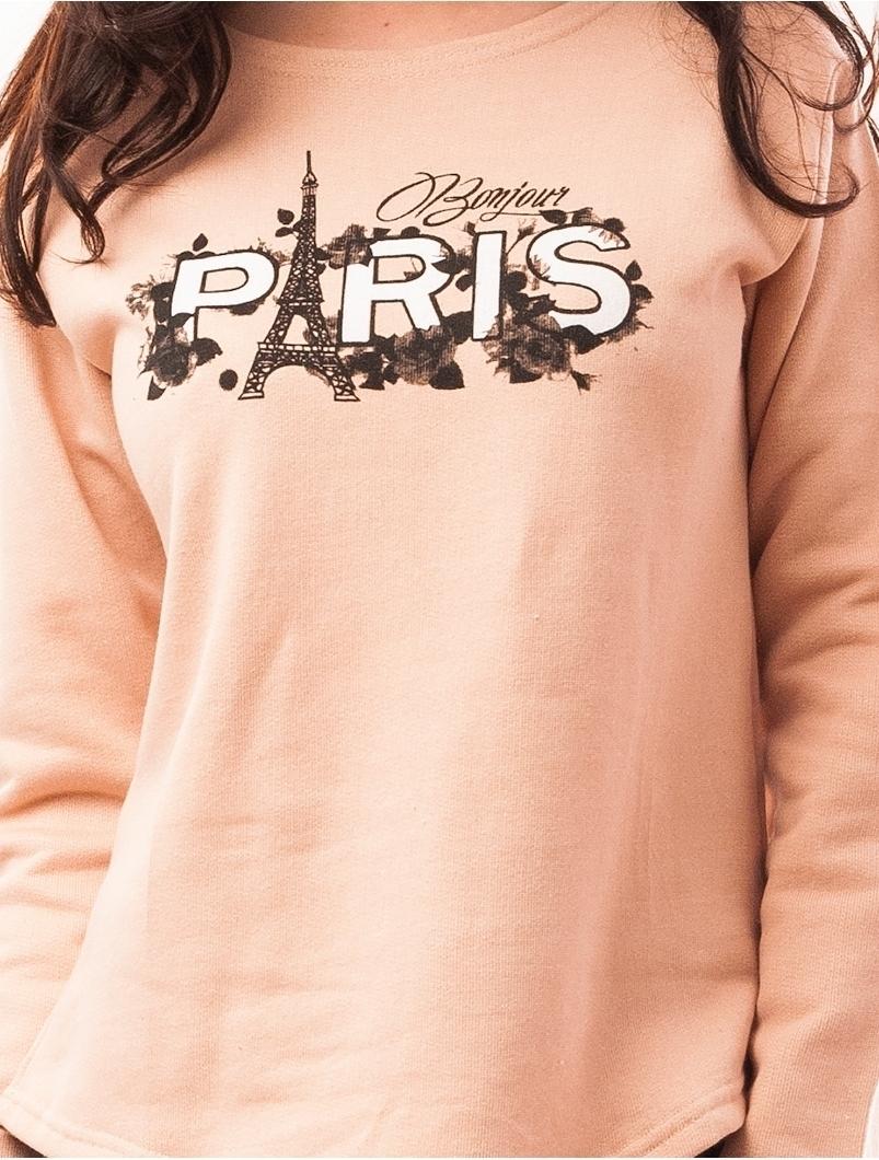 Bluza Dama Cu Imprimeu In Fata Paris Roz