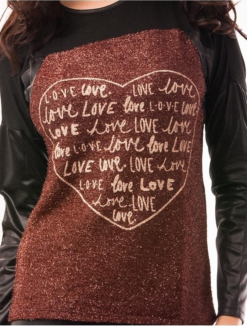 Bluza Dama Cu Fir Stralucitor Love Love Grena