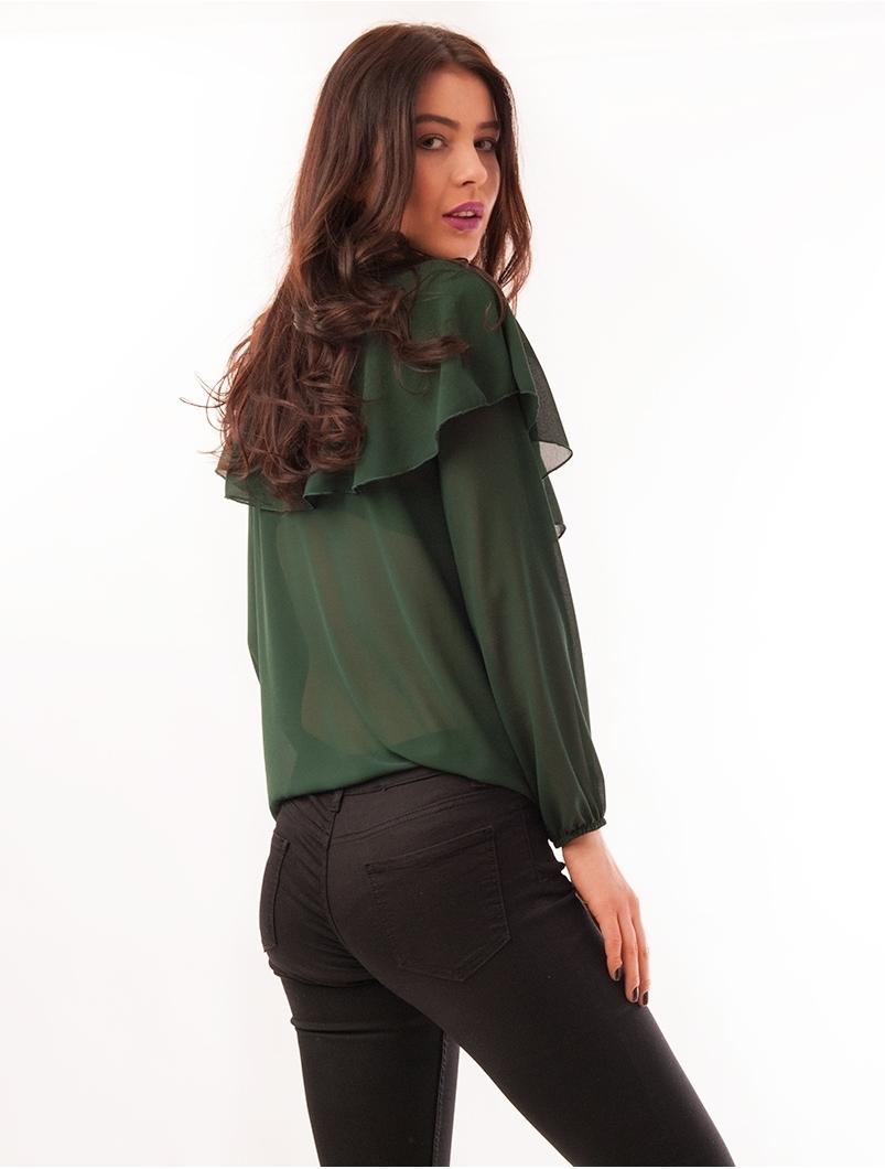 Bluza Dama Din Voal Cu Strasuri Waves Verde
